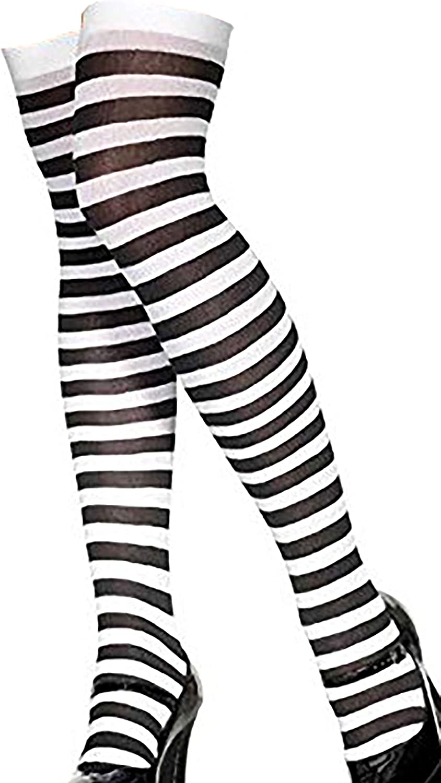 Halloween Ladies Black White Striped Socks Over The Knee High Wednesday Addams