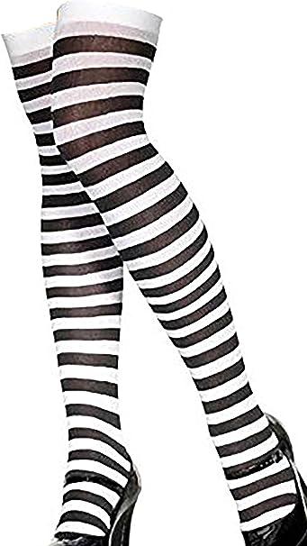 KNEE HIGH SOCKS STRIPEY STRIPY BLACK WHITE LACY BOW HALLOWEEN FANCY DRESS WARM