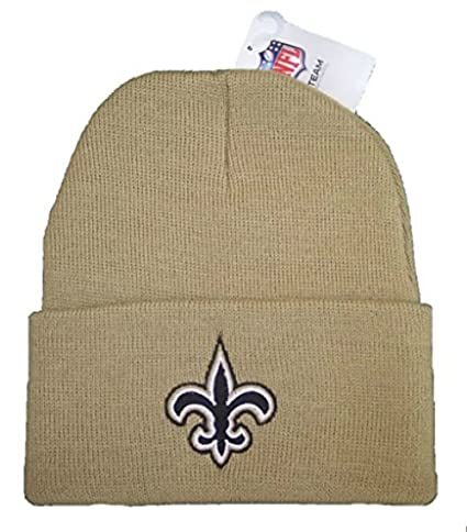 Image Unavailable. Image not available for. Color  New Orleans Saints Team  Color Gold Knit Cuff Beanie ... 634378a57