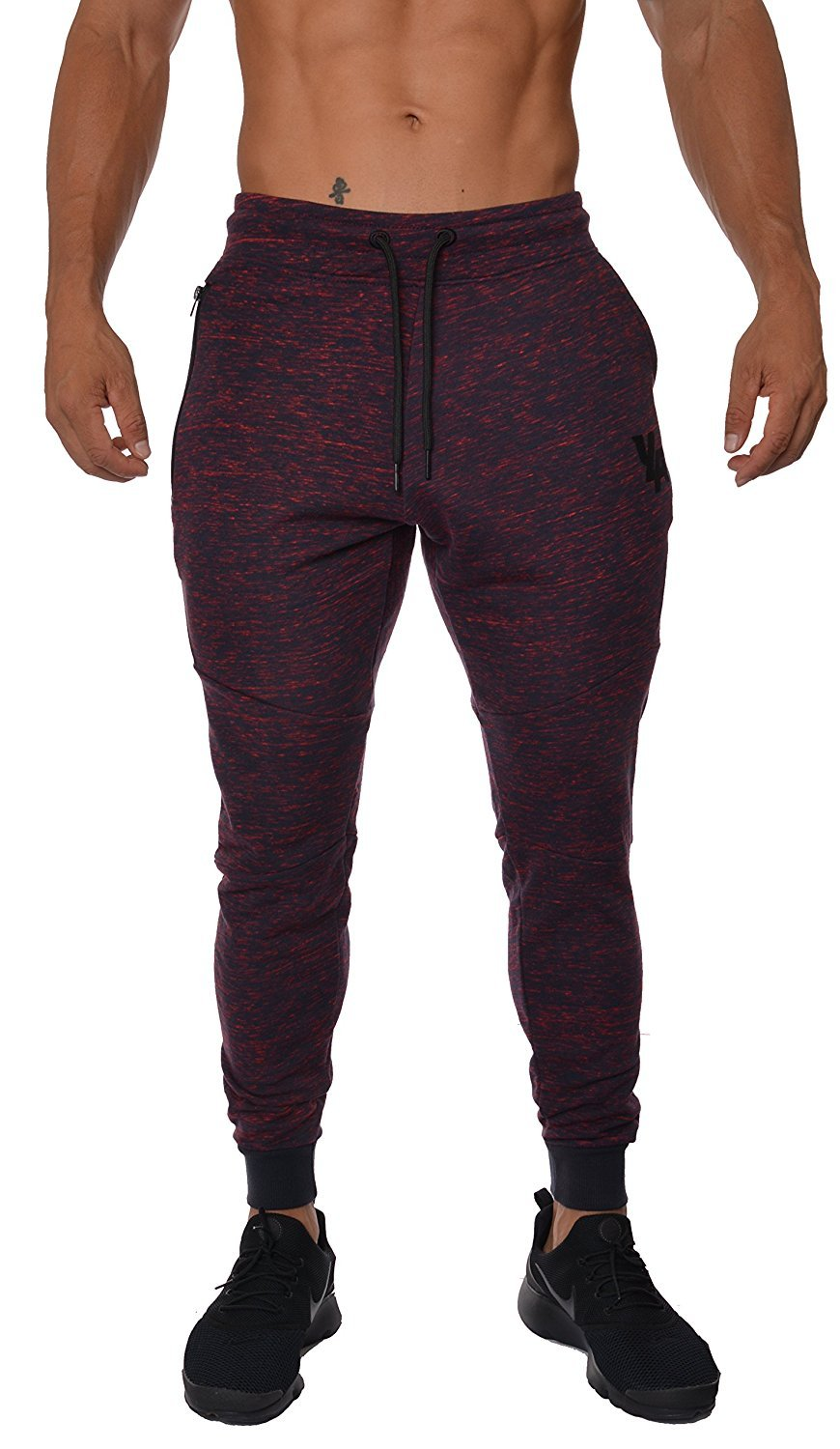 Taylor Heart Slim;Handsome French Terry Cotton Sweatpants Jogger Pants Red/NavyLarge