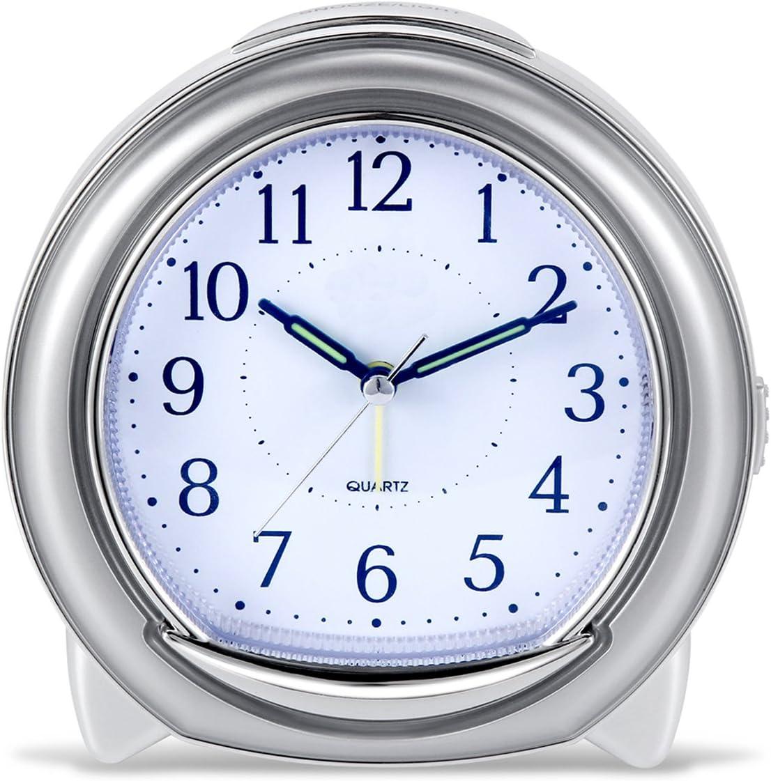 BonyTek Desk Alarm Clock, Silent Quartz Alarm Clock with Loud Mechanical Bell Bird Song Melody Alarm, Nightlight, Snooze, Silent Sweep Seconds, Luminous Hands, Battery Powered (Sliver)