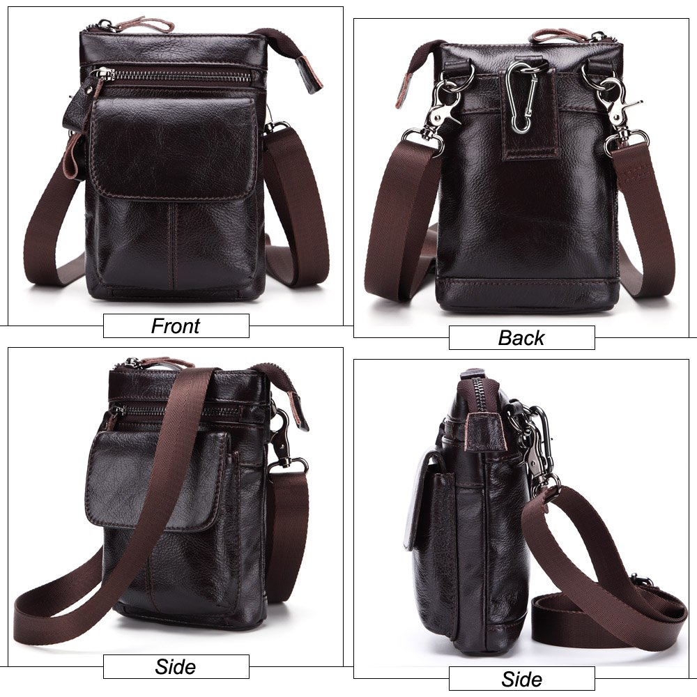 DAYIYANG Special Design Mens Waist Bag First Layer of Leather Multi-Function Business Package Leather Belted Mobile Phone Bag with Strap Color : Black, Size : M