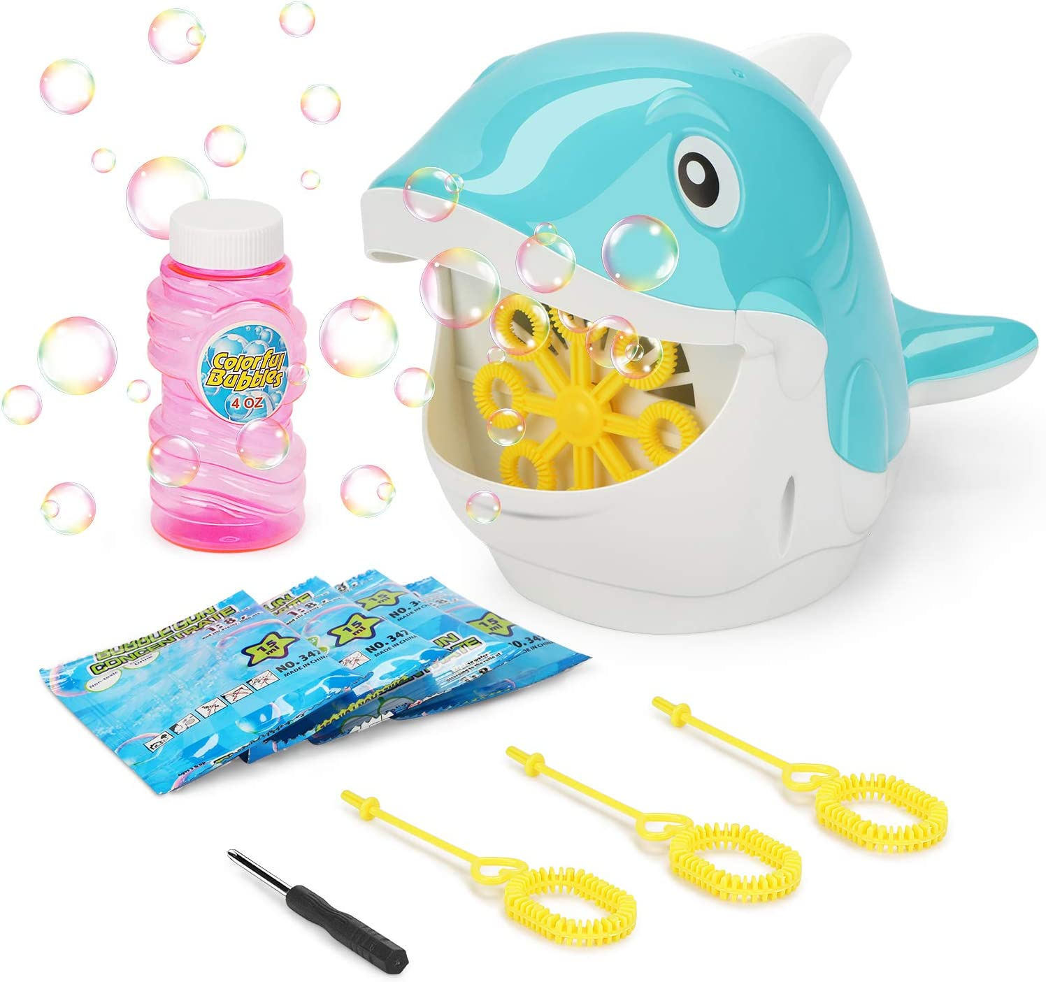 Fansteck Bubble Machine - Bubble Machine for Kids with 4 Bubble Concentrate Solution and 3 Hand Bubble Wands - Automatic Durable Bubble Blower 2000+ Bubble Maker for Christmas, Parties (Shark Shape)