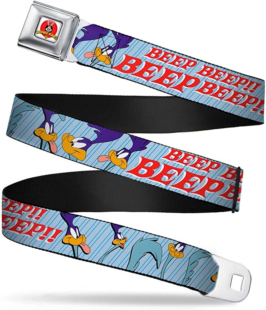 1.0 Wide-20-36 Inches Buckle-Down Mens Seatbelt Belt Road Runner Kids MEEP Hunter Poses Baby Blue