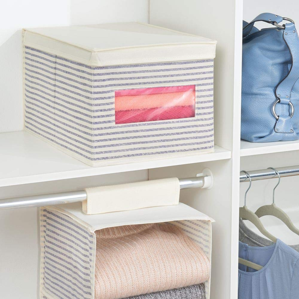 mDesign Soft Fabric Stackable Closet Storage Organizer Box with Clear Window and Attached Hinged Lid for Bedroom Striped Print Entryway 2 Pack Large Closets Hallway Natural//Cobalt Blue
