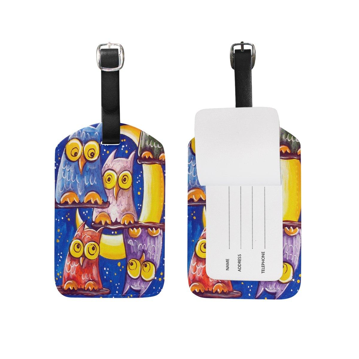 Saobao Travel Luggage Tag Crowd Of Owls PU Leather Baggage Travel ID