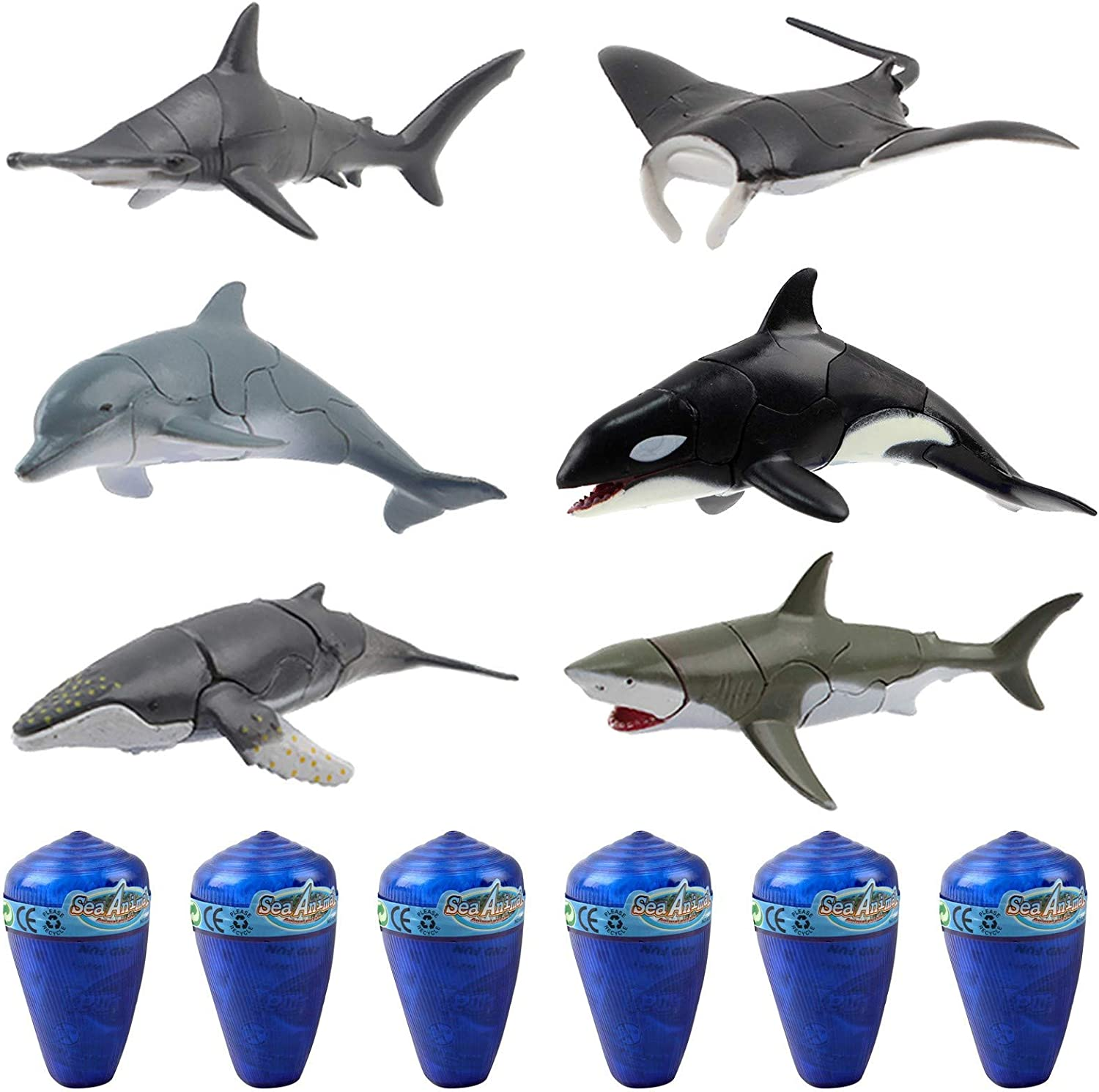 Vokodo Marine Animal Building Set With 6 Unique Species In Seashells Kids 3D Puzzle Aquatic Life Take Apart Ocean Discover Science STEM Sea Education Dig Up Easter Party Toys Great Gift For Boys Girls