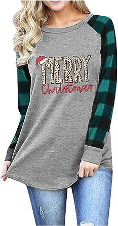 Women Plaid Raglan Baseball Tee Casual Blouse Long Sleeve Top Tee T-Shirt