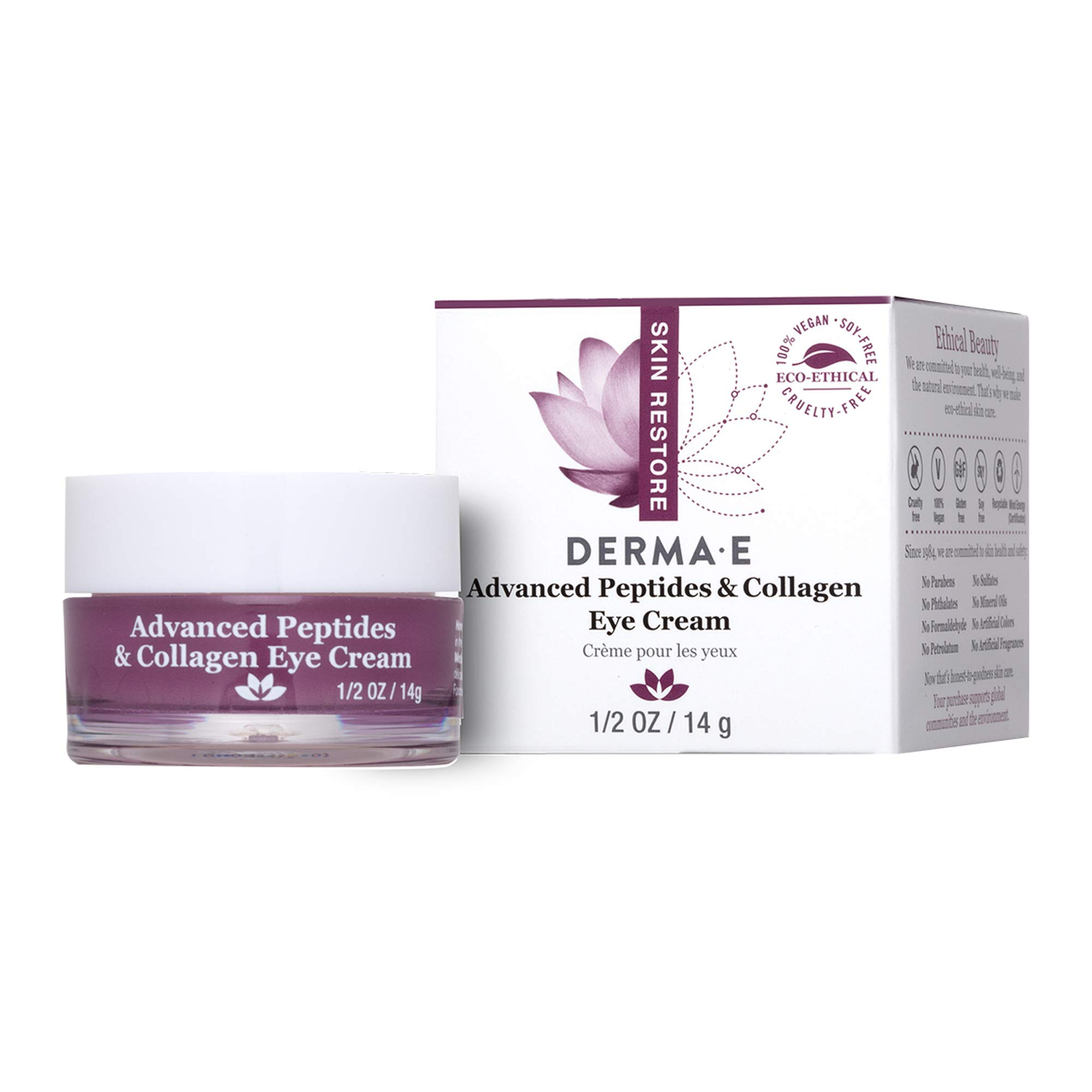 DERMA-E advanced Peptide & Collagen Eye Cream, White, 0.5 Ounce