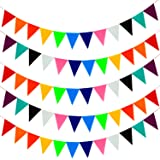 Keriber 60 Pieces/131.2 Feet Soft Felt Cloth Banners Fabric Bunting Banners for Birthday Party, Baby Shower, Wedding Decorations,12 Colors