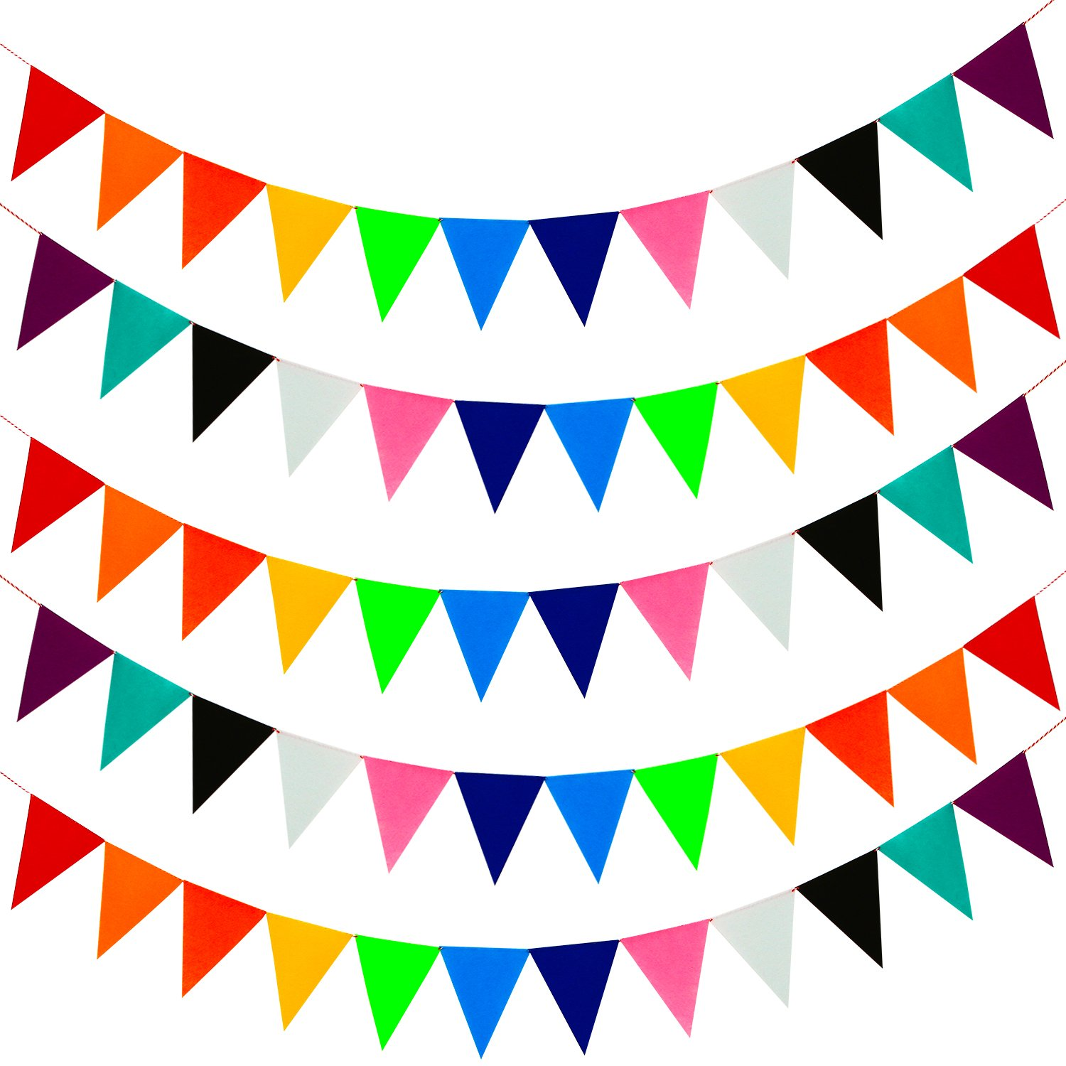 Coobey 60 Pieces/131.2 Feet Soft Felt Cloth Banners Fabric Bunting Banners for Birthday Party, Baby Shower, Wedding Decorations,12 Colors