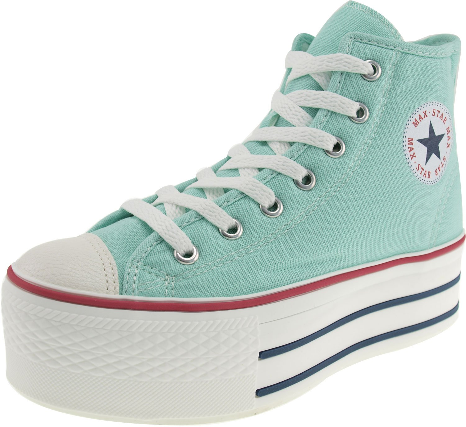 Maxstar Women's C50 7 Holes Zipper Platform Canvas High Top Sneakers B00CHVUQ86 8.5 B(M) US|Mint