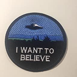Amazon Com I Want To Believe Patches Text Words Logo Theme Space And Ufo Fans X Files Tv Series U Sky Embroidered Sew Or Iron On Patch Appliques By Athena Brands Kitchen Dining
