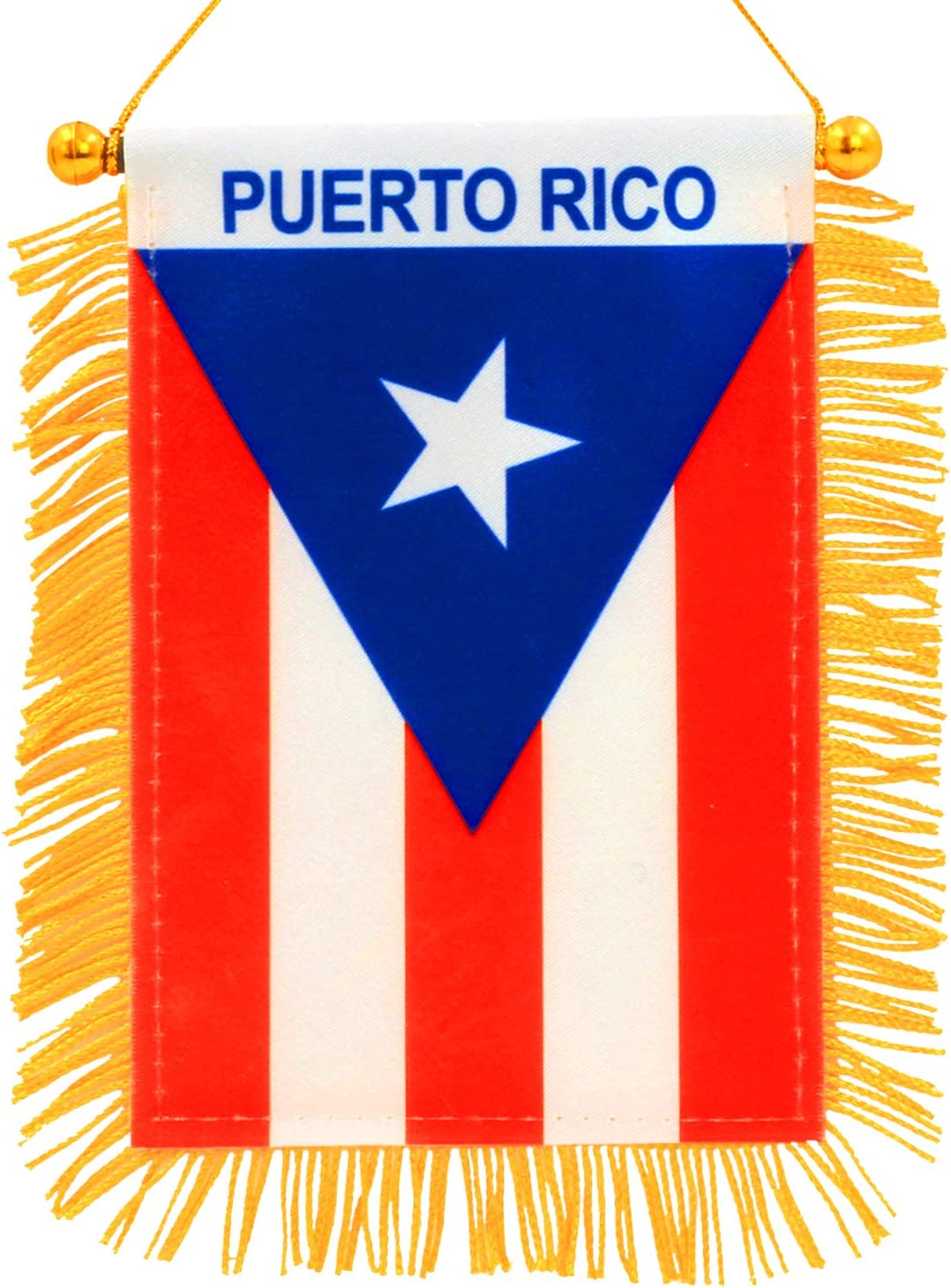 Anley 4 X 6 Inch Puerto Rico Window Hanging Flag - Rearview Mirror & Double Sided - Fringed Puerto Rican Mini Banner with Suction Cup
