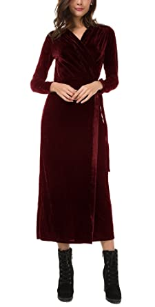 beb7335067c Urban CoCo Women s Vintage V-Neck Long Sleeve Velvet Belted Wrap Long Dress  (M