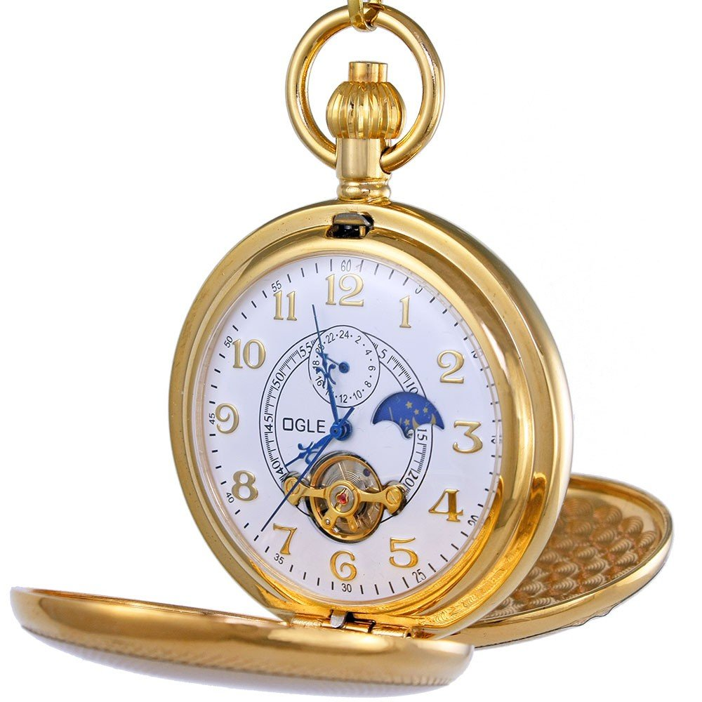 OGLE Vintage Copper Double Cover Tourbillon Phases Moon Chain Fob Self Winding Automatic Mechanical Pocket Watch/Gold Dial (White Dial) by OGLE
