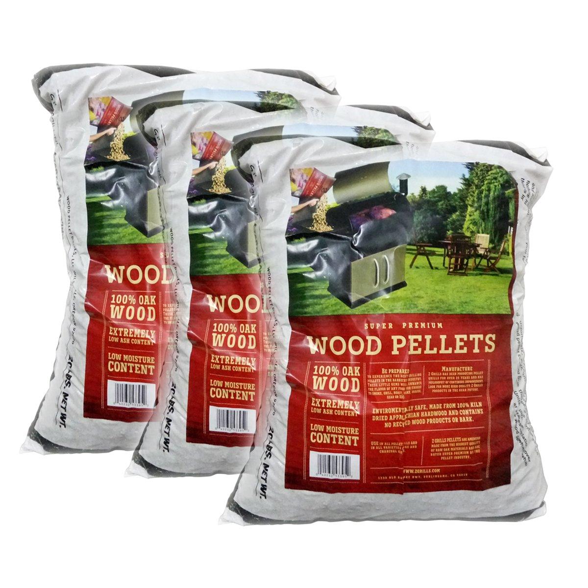 Z GRILLS Premium BBQ Wood Pellets Grilling Smoking Cooking Oak Hardwood Pellets,20LB Per Bag Made in USA (3) by Z GRILLS