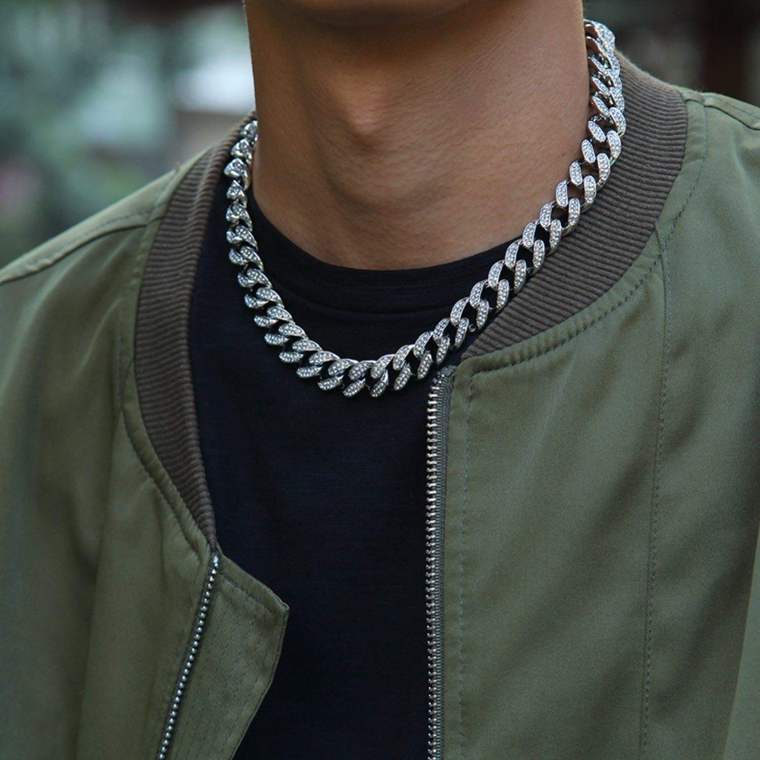 Monica/'s house 13mm Iced Out Necklace Chain Hip hop Jewelry Choker Gold Silver Rhinestone Clasp for Mens Rapper Fashion Necklaces Link