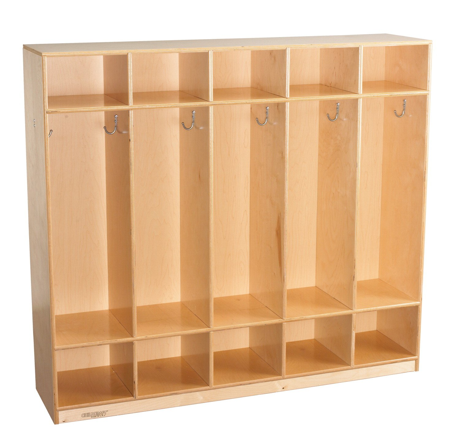 Childcraft 272044 Straight Sided Coat Locker, Wood, 53-3/4'' x 13'' x 48'', Natural Wood Tone