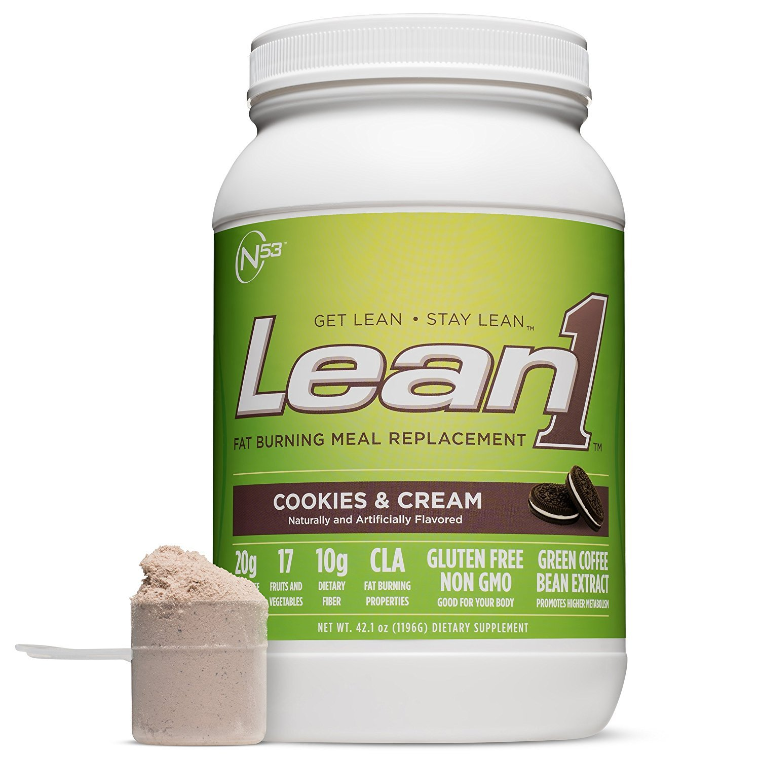 Lean 1 Cookies Cream Protein Powder Meal Replacement Shakes By Nutrition 53 Lactose