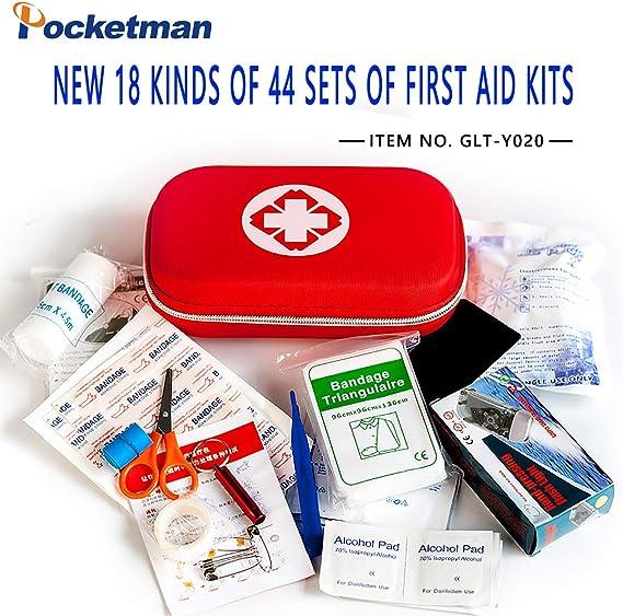 POCKETMAN - Bolsa de Rescate, 44 Piezas, Mini Estuche de Primeros Auxilios y emergencias para el hogar, la Oficina, el vehículo, Camping, Actividades al Aire Libre: Amazon.es: Deportes y aire libre