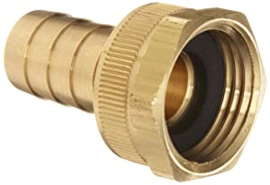 """Dixon BCF75 Brass Hose Fitting, Machined Coupling with Swivel Nut, 5/8"""" GHT Female x 5/8"""" Hose ID Barbed"""