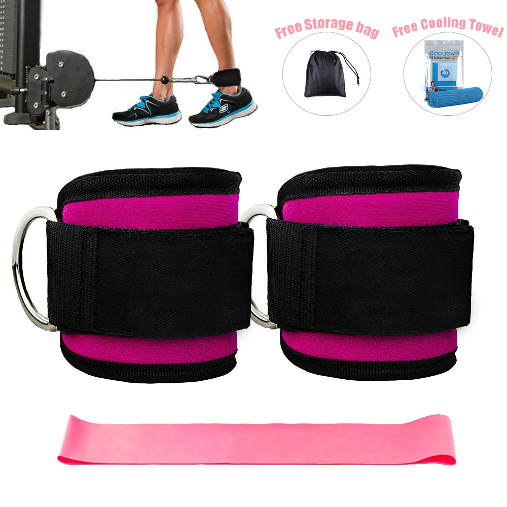 Ankle Straps for Cable Machines and Resistance Band plus Carry Bag double stitching and reinforced D-rings- Padded Ankle Strap Attachment for Weightlifting Leg Gym Workout, Fitness Ankle Cuffs(Pink) by Kecho (Image #6)