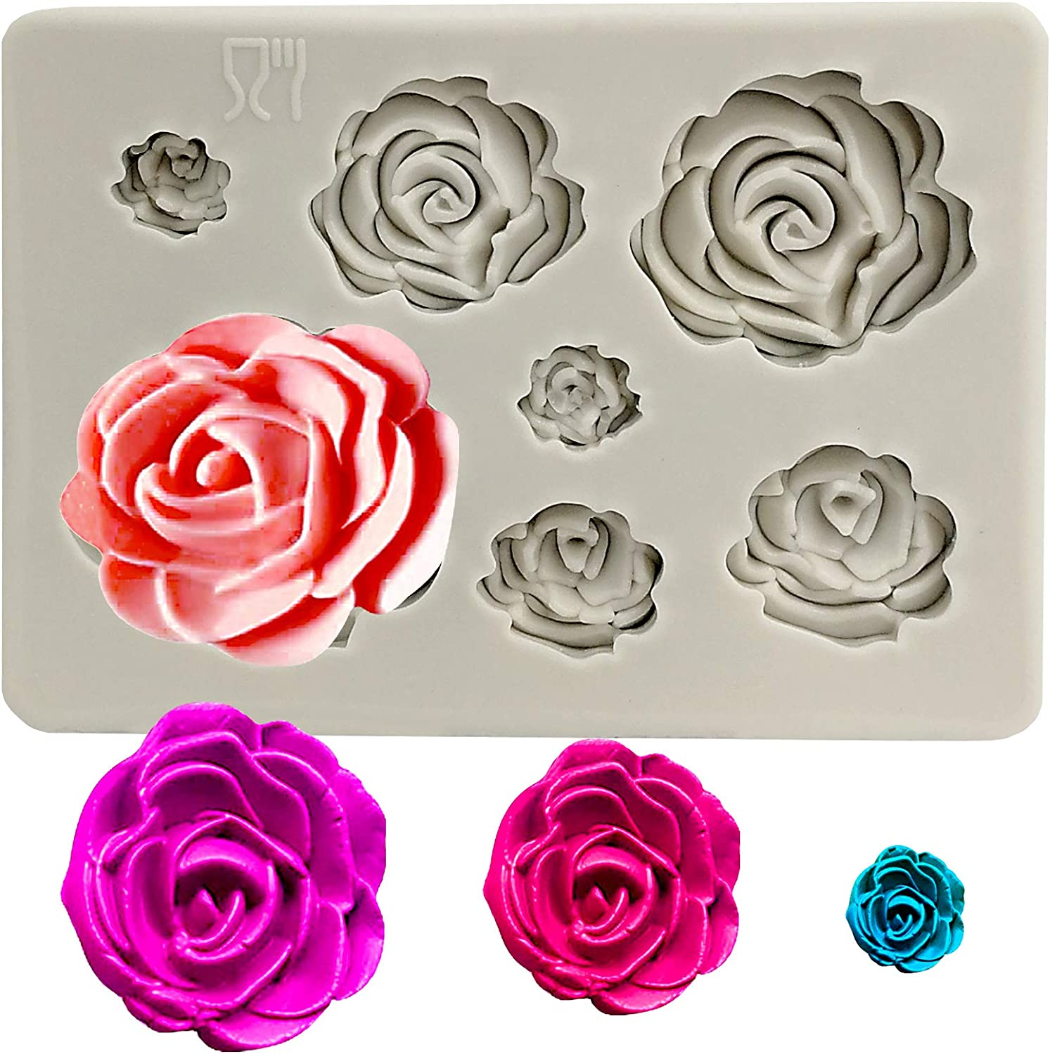 Soap Polymer Clay,Crafting Projects,Wedding and Birthday Cake Decoration Roses Flowers Collection Fondant Candy Silicone Mold for Sugarcraft Cupcake Toppers
