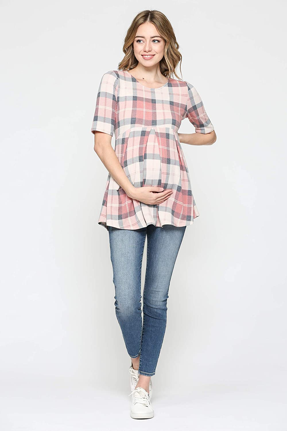 Pink Plaid, S Womens Round Neck Peplum Maternity Top with Front Pleat