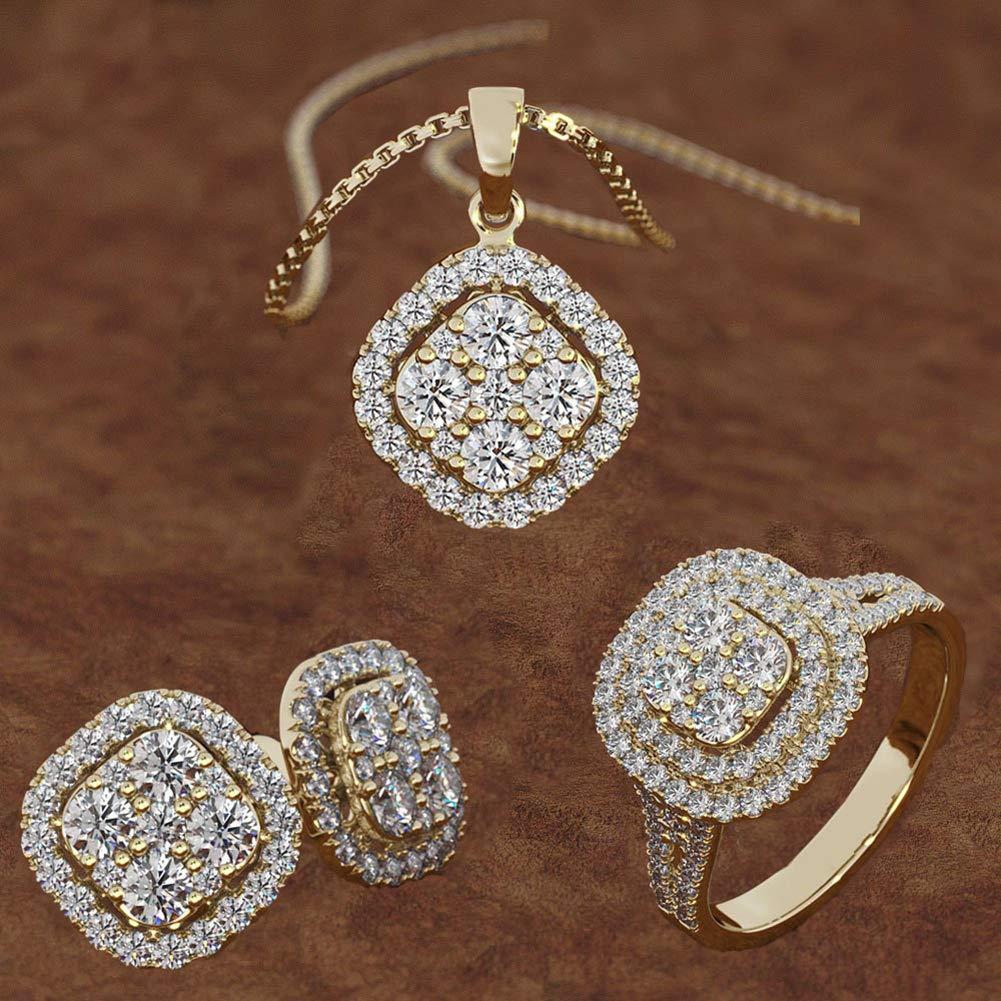 collier en m/étal strass et anneau de doigt Parure collier et boucles doreilles pour femme Or rose US 7 boucles doreilles pour femme