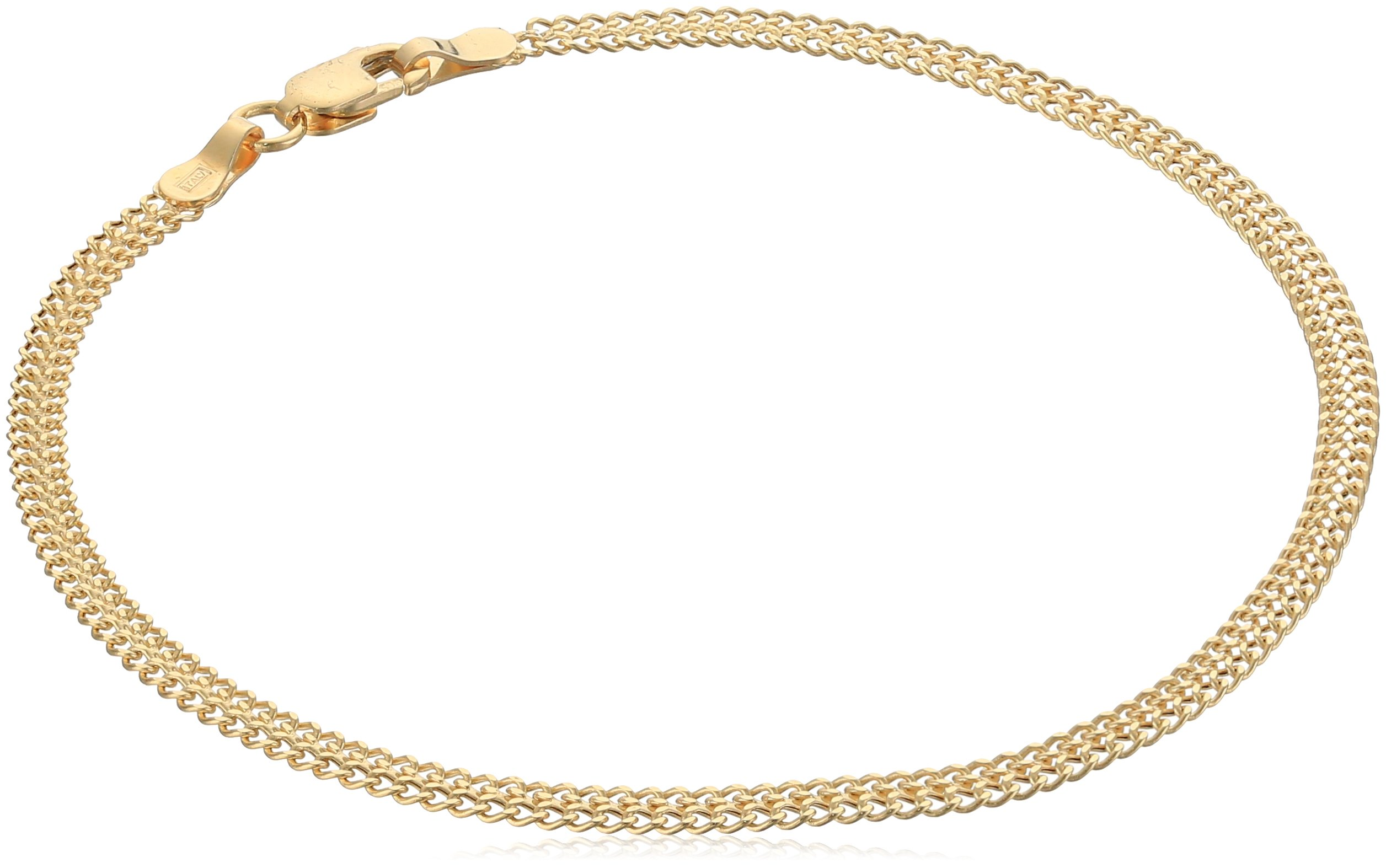 14k Italian Yellow Gold Stamp Ladies Link Bracelet, 7.5''