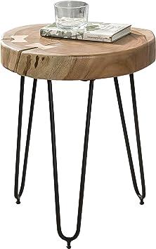 Mesa auxiliar de madera maciza de acacia Wohnling 30 x 30 cm ...