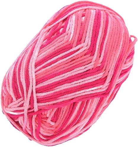 Hilo de lana de algodón, 2 ovillos de 50 g, 4 capas, multicolor ...