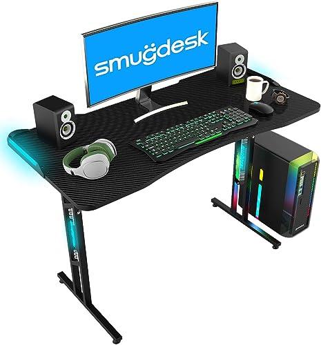 SMUGDESK Gaming Desk Racing Style Computer Desk Ergonomic Game Table