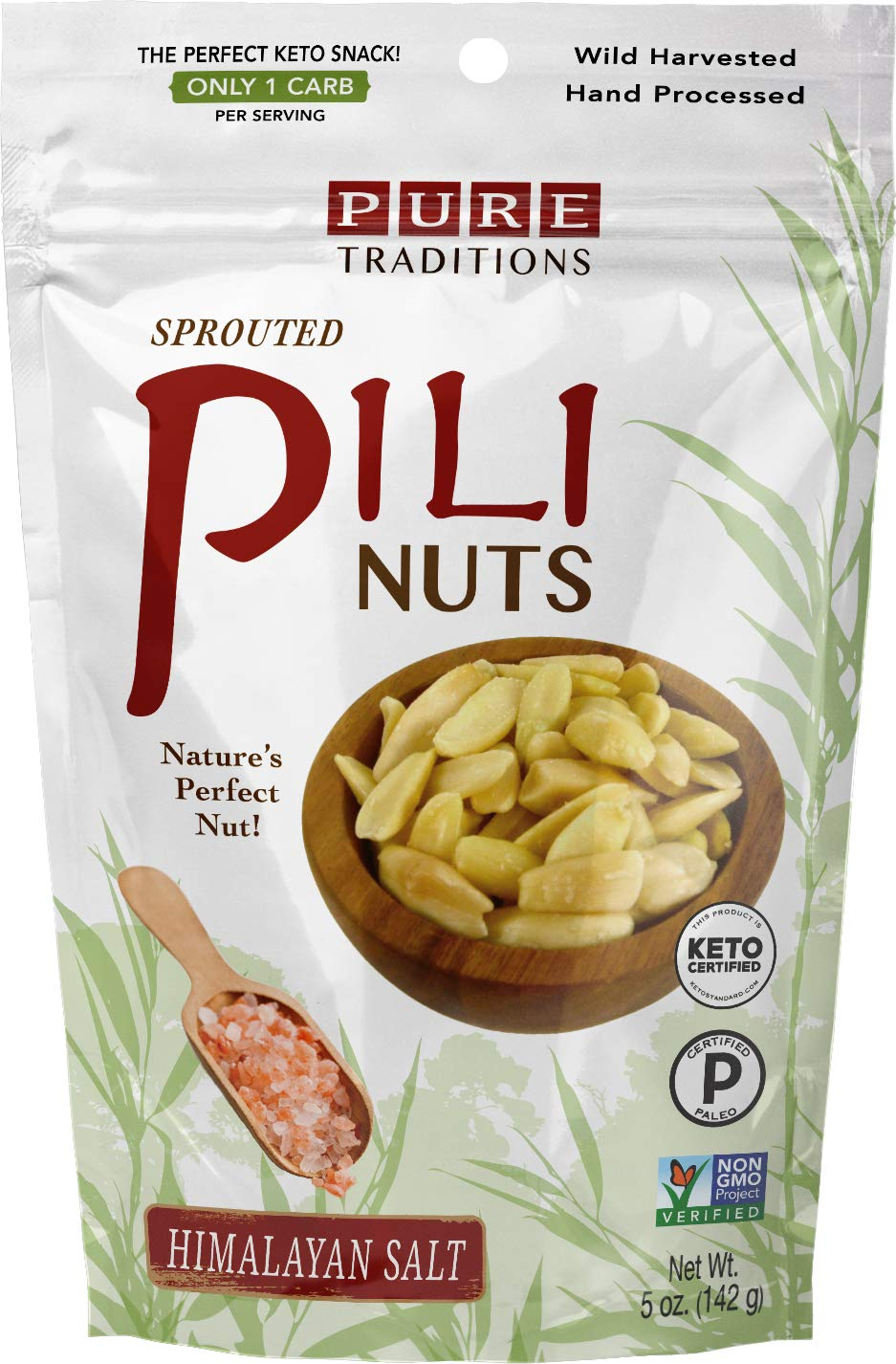Wild Sprouted Pili Nuts, (5 oz Bag) with Himalayan Salt and Organic Coconut MCT Oil, Perfect Keto Friendly Snack, Vegan, Low Carb Energy, No Sugar Added, Ketogenic Fat Superfood, Gluten/Soy/Dairy Free