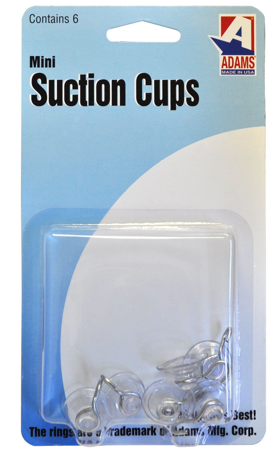 Adams Manufacturing 7000-75-3040 Mini Suction Cup Hook, 3/4-Inch, 6-Pack