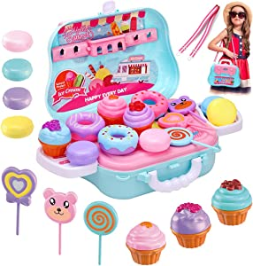 14pcs Pretend Play Cute Dessert Set Food, Sweet Treats Assortment, Toy Donuts, Cupcakes, Ice Cream, Candy Bars, Assorted Dessert Toys for Kids