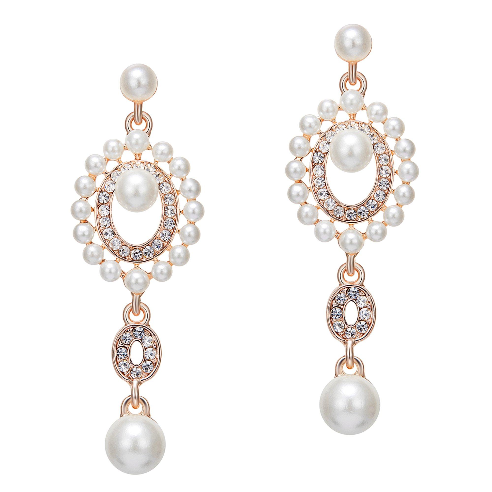BABEYOND 1920s Vintage Wedding Pearl Dangle Drop Earrings Art Deco Gatsby Earrings (Style 6-Rose Gold)