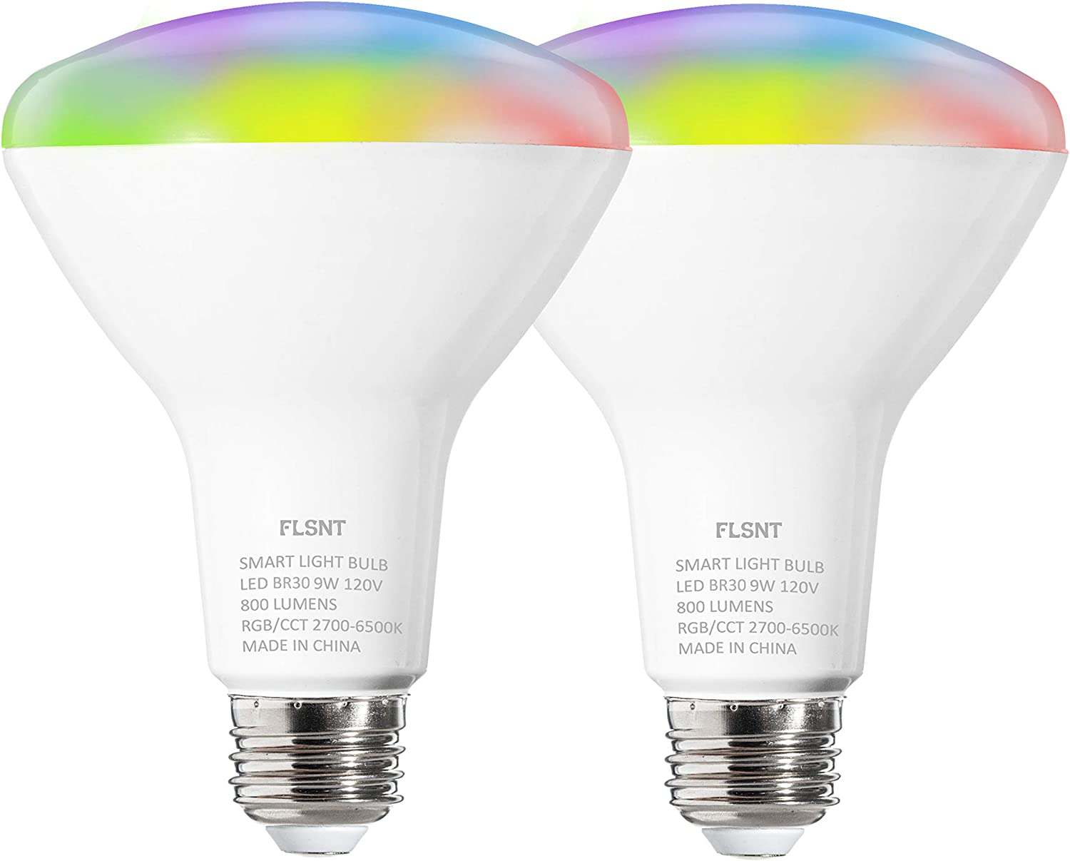 FLSNT BR30 Smart Light Bulbs,LED WiFi 2.4G RGBCW Color Changing Light Bulb,Works with Alexa,Google Home Assistant,9W(60W Equivalent),E26 Base,2 Pack