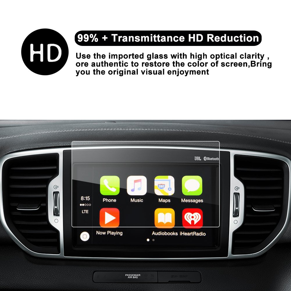 R RUIYA Tempered Glass Protector Replacement for 2017 Cadenza Niro Sportage Sorento 8-inch In-Dash Screen Protector Car Navigation Screen Protective Film,HD Clear