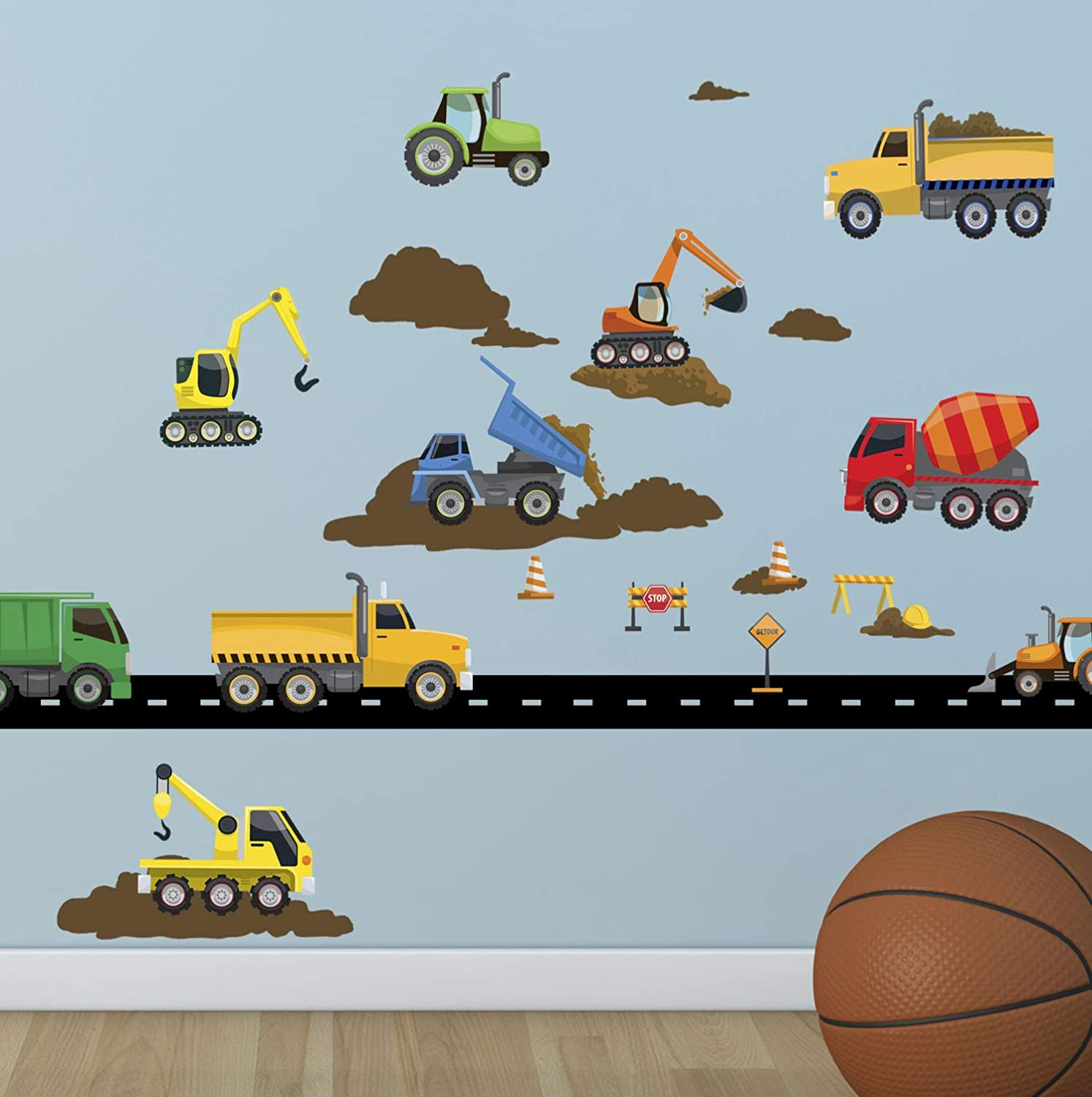 Create-A-Mural Trucks & Construction Vehicles Wall Decals Boys Wall Stickers, Vehicles Street Construction Scene Theme Room Vinyl Peel & Stick Bedroom Decor Toddlers Playroom Decoration Birthday Gift