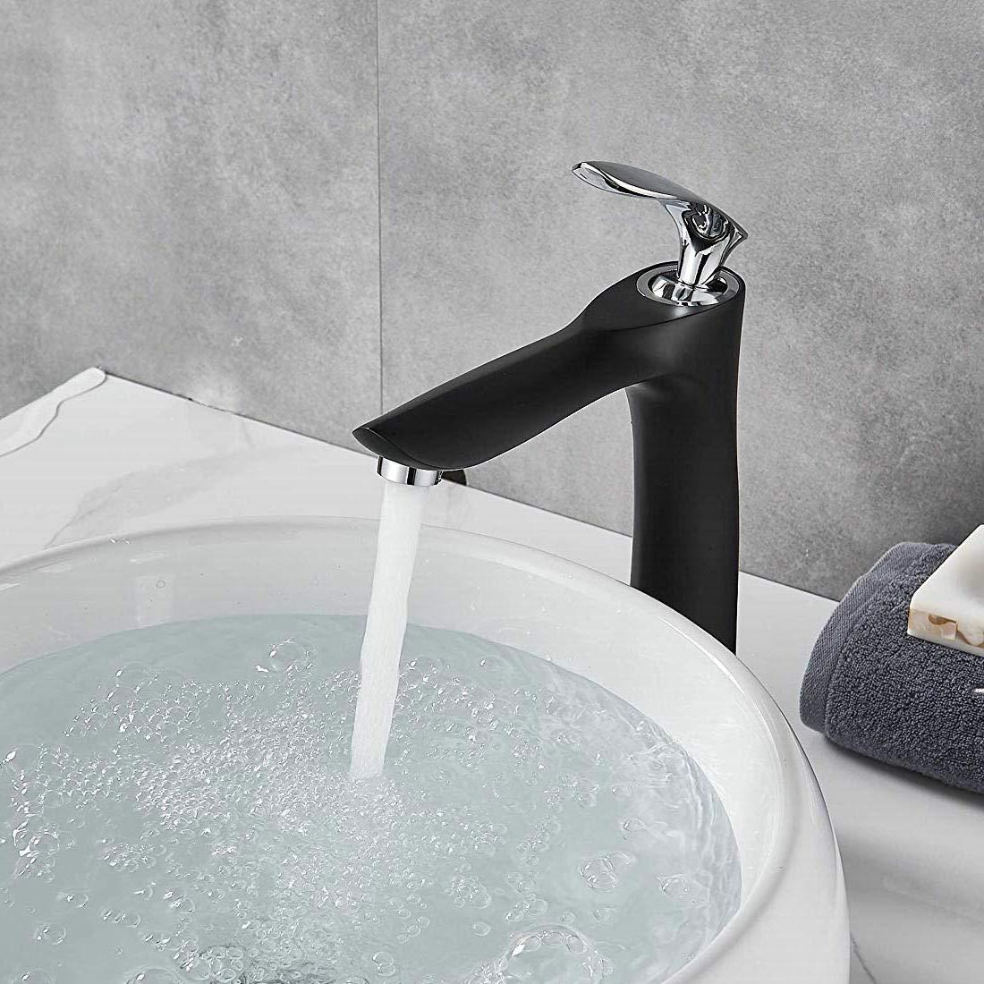 Tapa de ba/ño /única con mango de oro cromado y cuerpo de lat/ón negro con un agujero para cubierta de lavatorio con doble acabado de leekayer