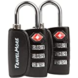 2 Pack TravelMore TSA Luggage Padlocks – 3 Digit Combination Travel Locks With Search Alert For Suitcase & Backpack – Black