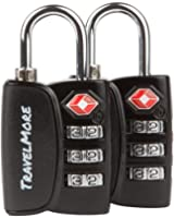 2 Pack Open Alert Indicator TSA Approved 3 Digit Luggage Locks for Travel Suitcase & Baggage (Black)