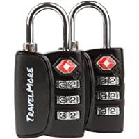 TSA Luggage Padlocks – Cable Combination Travel Locks With Search Alert For Suitcase & Backpack - 1, 2 & 4 Pack