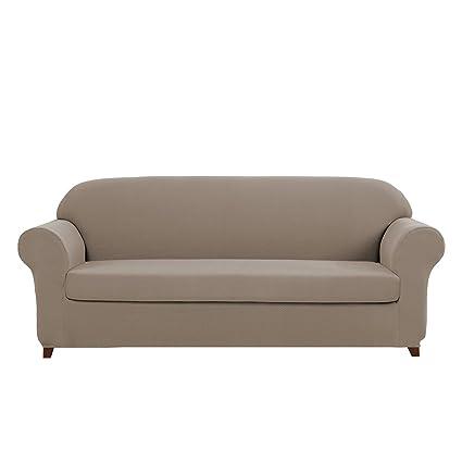 Fantastic Dyfun Knit Stretch Sofa Slipcovers 2 Piece Polyester Spandex Fabric Couch Covers For Living Room Loveseat Khaki Inzonedesignstudio Interior Chair Design Inzonedesignstudiocom