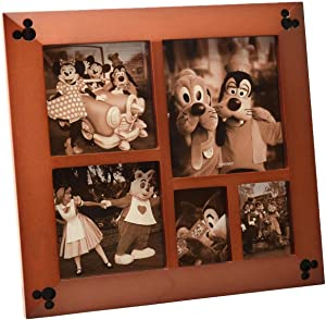 Disney Parks Exclusive Beveled Mickey Icon 5 Multi-Square Cherry Wood Picture Photo Frame