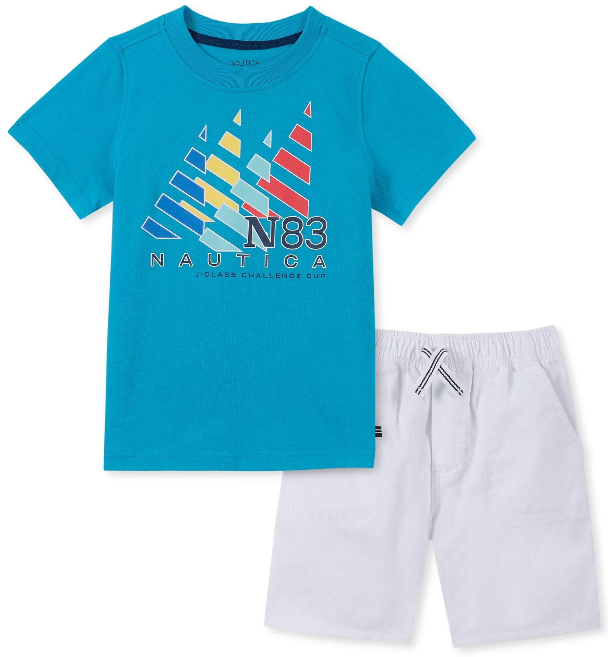 Nautica Sets (KHQ) Boys' Toddler 2 Pieces Shorts Set, Blue/White 2T