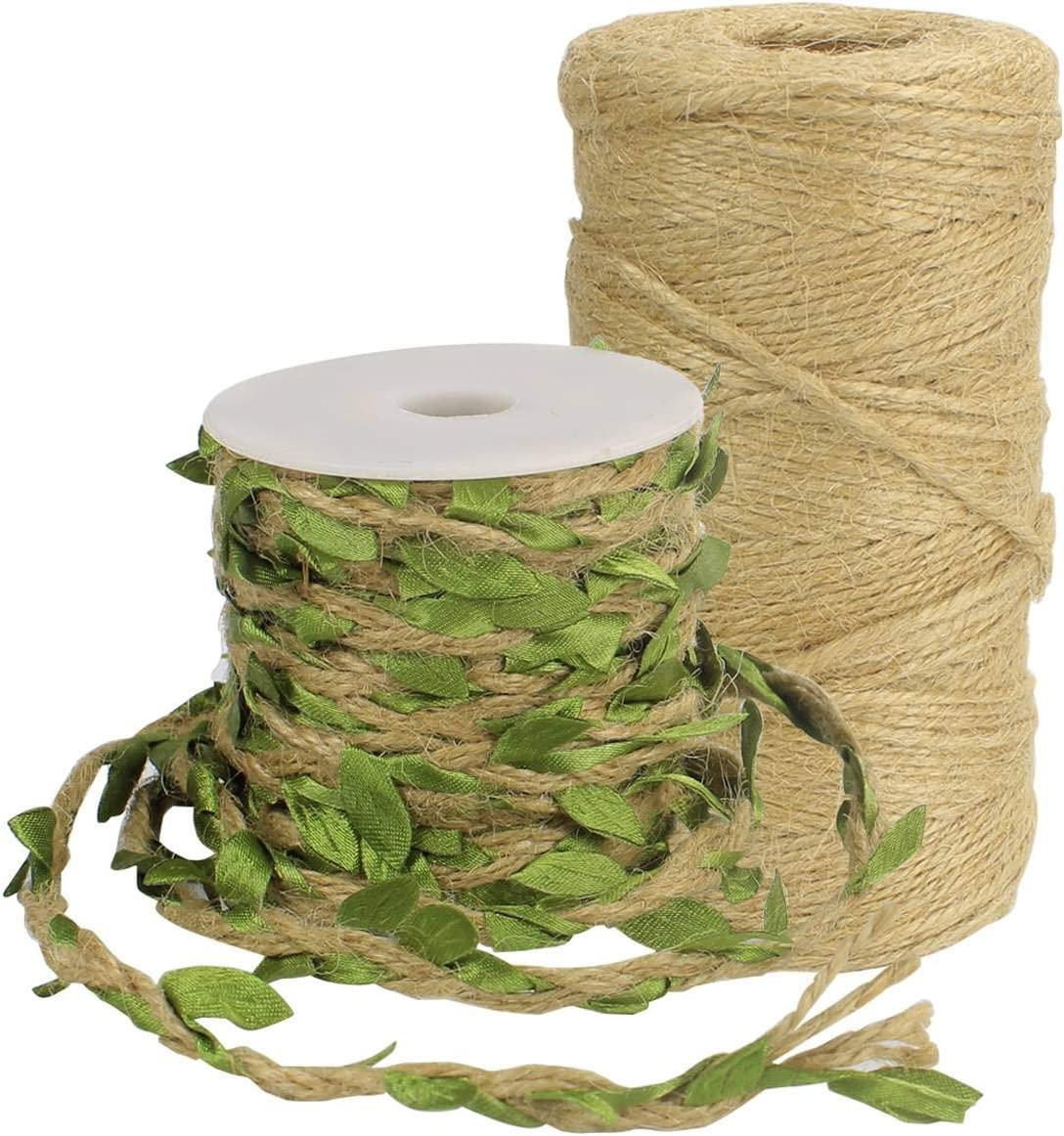 Blue Tenn Well Burlap Leaf Ribbon 66 Feet 5mm Natural Jute Twine with Artificial Leaves for Crafts Wedding Gardening Party Home Decor