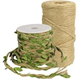 Natural Jute Twine Burlap Leaf Ribbon with Artificial Vine Green Leaves Arts Crafts Gift Twine Christmas Twine Durable Packing String for Wedding Home Garden Applications